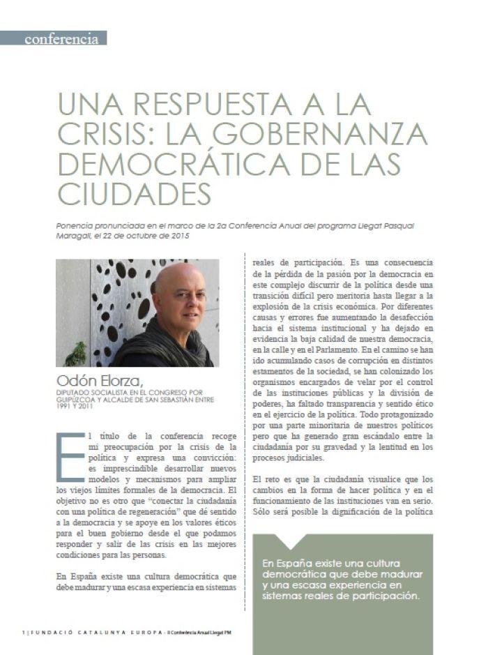 Una respuesta a la crisis: La gobernanza democrática de las ciudades