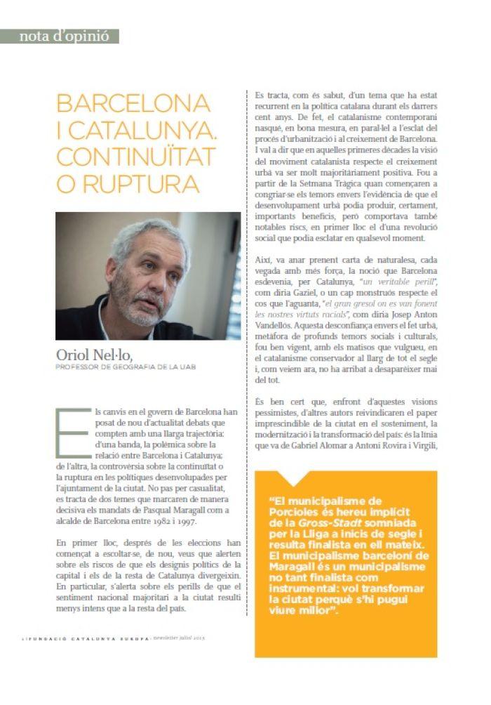 Barcelona i Catalunya: continuïtat o ruptura
