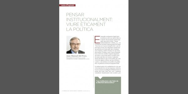 Think institutionally: live ethically politics