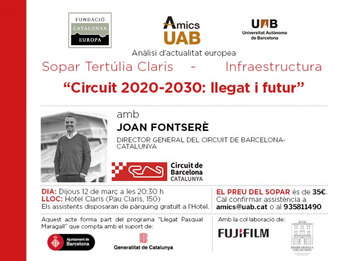 Circuit 2020-2030: Legacy and future. Dinner colloquium with Joan Fontserè