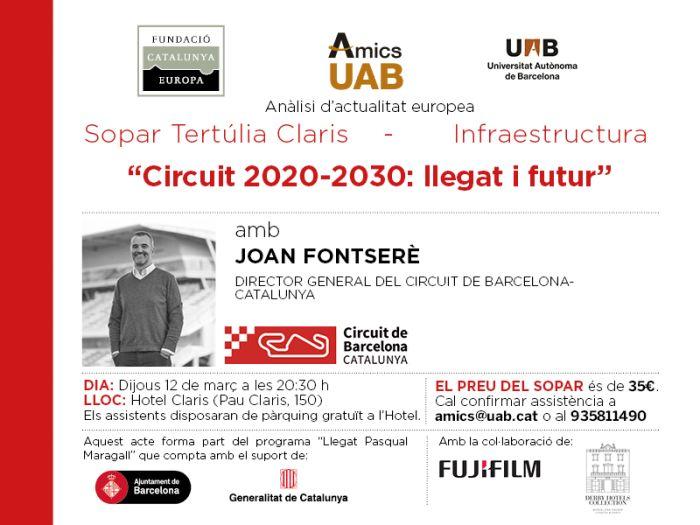 Circuit 2020-2030: Llegat i futur. Sopar col·loqui amb Joan Fontserè