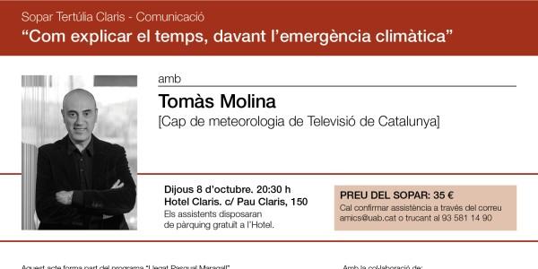 Cómo explicar el tiempo ante la emergencia climática. Cena coloquio con Tomás Molina