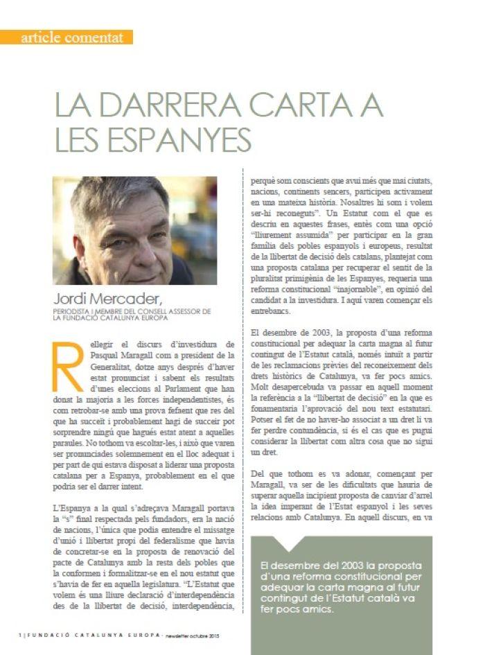 La darrera carta a les Espanyes